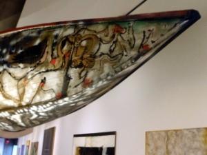 Art under a canoe